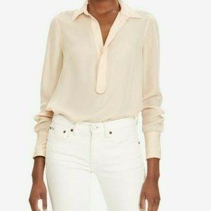 Polo Ralph Lauren Silk Georgette Blouse Blush Size
